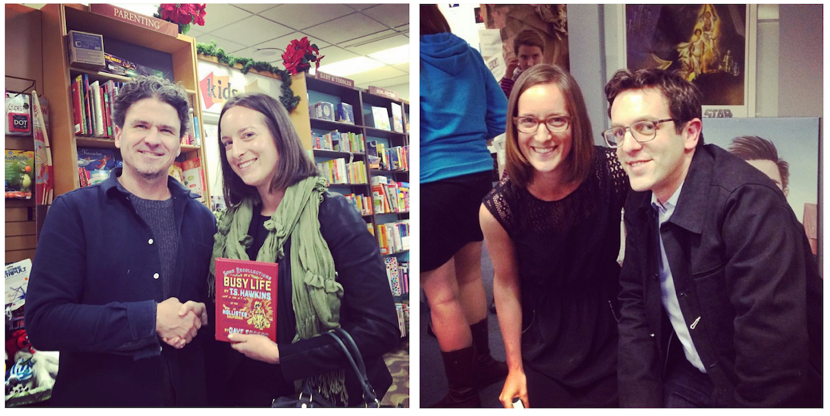 Dani with authors Dave Eggers (left) and BJ Novak (right)
