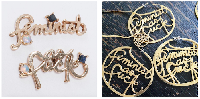Pieces from Leah's Feminist as Fuck handmade jewelry line, photos by Leah Ball
