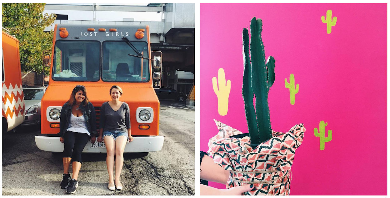 Sarah and Kyla with Mini Winnie (left) and the pink cacti wall in their new store (right)