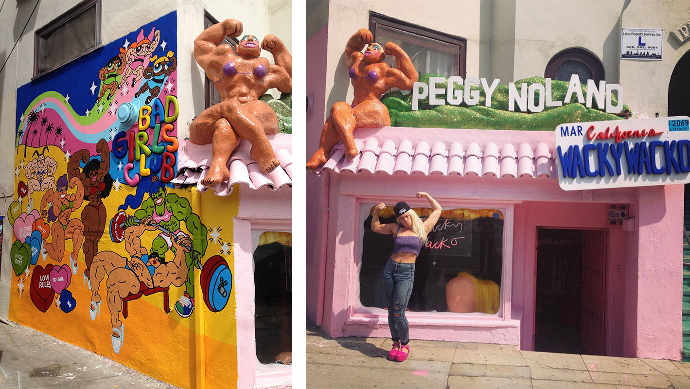 The finished muscle girl mural (left) and Tina in front of the new store (right). Photo on left by Jessica Collins
