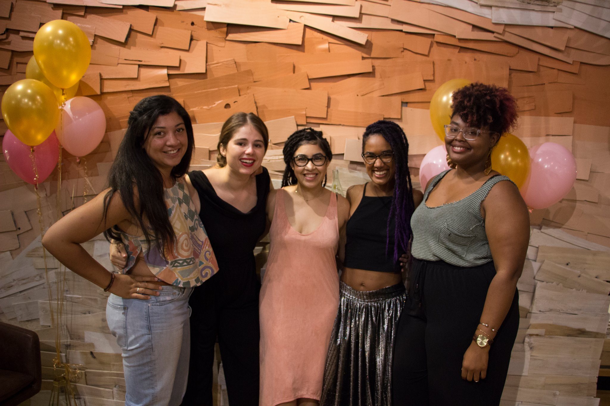 The current #bossbabesATX team includes (from left to right) Jasmine Brooks, Leslie, Jane, Ashlee, and Lauren Murray. Photo by Tess Cagle