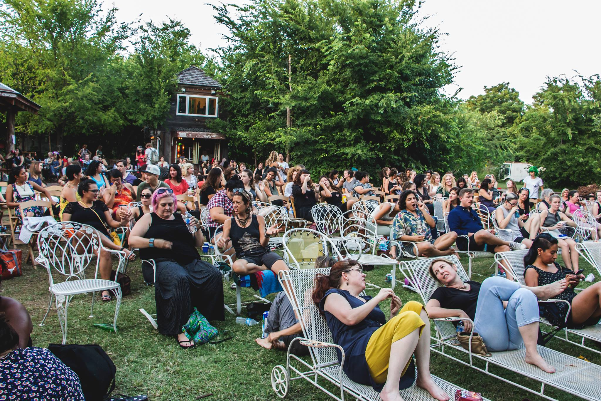 The crowd at the Babes Fest summer film screening in Austin. Photo by Tess Cagle