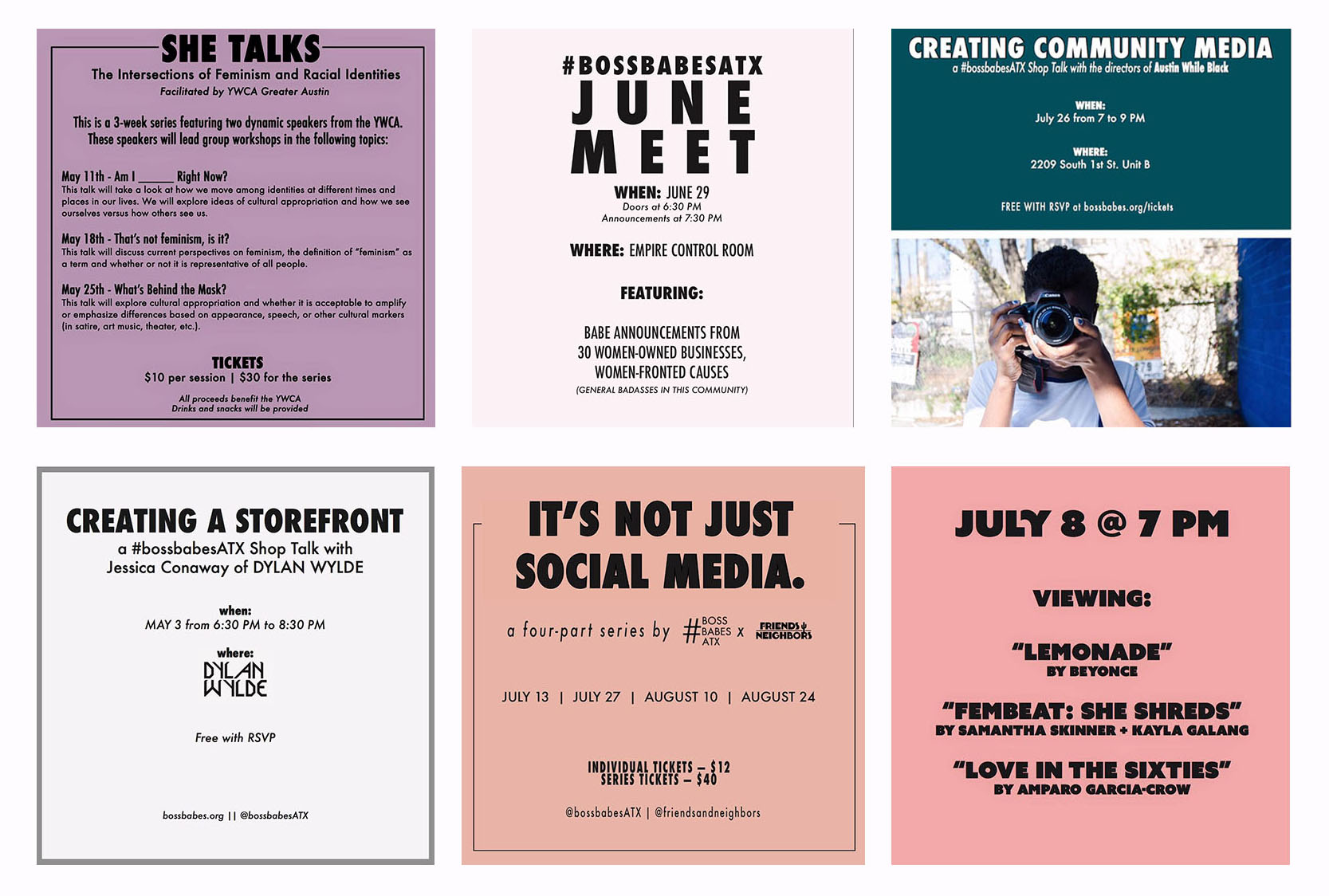 Some flyers from recent (and future!) #bossbabesATX and Babes Fest events.